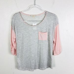 Pleione Size XS Gray Pink Two Toned Striped Top